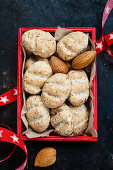 Cedar bread in a red box (top view)