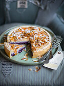 Blueberry cake with coconut and silken tofu cream and coconut chips