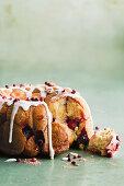 White chocolate and raspberry monkey bread