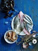 Fischstillleben mit Garnelen und Muscheln