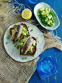 Sardinen und Avocado auf Roggenbrot