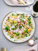 Toasted Corn and Peral Barley with Mustard Dressing