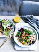 Confit duck salad with honey and hazelnut dressing