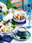 Zucchini Fritters and Crudites with Tzatziki