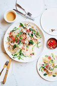 Kelp noodles with poached chicken and miso dressing
