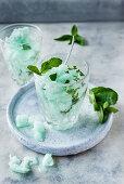 Mint granita in glasses