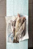 Fresh fish on paper