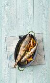 Oven-baked stuffed hake with potatoes