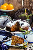 Carrot cake with sugar powder