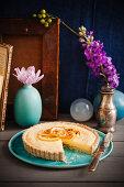 Almond tart with lemon cream, sliced