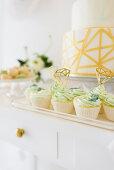 Festive cupcakes on wedding buffet