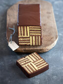 Millerighe cake (chocolate cake with a geometric pattern)