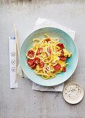 Shirataki noodles with chorizo (Japan)