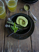 Matcha Swiss roll (filled with matcha cream and red bean paste)
