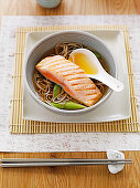 Salmon and soba noodles in soy broth