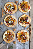 Puff pastry tarts with carrots and parsnips