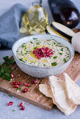 Baba ghanoush with pomegranate seeds (Arabia)