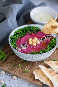 Beetroot hummus with chickpeas and parsley (Arabia)