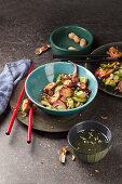 Octopus salad with avocado, cucumber, peanuts and citrus dressing (Asia)