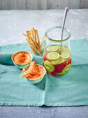 Pepper hummus and refreshing raspberry and kiwi water with lime