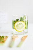 Herbal water with lemon