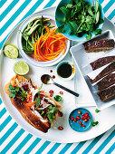 Pork and beef meatloaf with hoisin glaze and Glazed meatloaf Banh mi