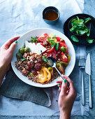 Almond kofta balls with Heirloom tomato salad