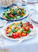 Heirloom tomato, basil and sheep's yoghurt salad and Qualia garden salad
