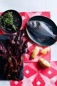 Thymian, Rote Bete, Flunder und Kartoffeln