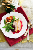 Christmas Roasted Berkshire pork loin with cherry and ginger jam