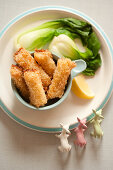 Fish sticks with pak choy