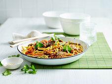 Asian pork and hoisin noodles