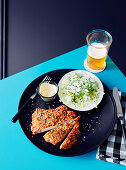 Spiced pork chop schnitzel with pear and fennel slaw
