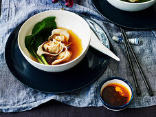 Wonton Soup with Black Vinegar Sauce