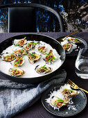 Steamed XO oysters with bacon crumb