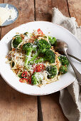 Pasta with broccoli, chili and cheese