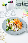 Soba noodles with vegetables and eggs for the office