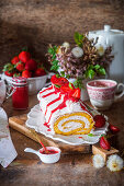 Stawberry Swiss roll with buttercream
