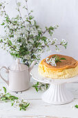 Cotton soft japanese cheesecake on a cake stand