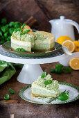 Basil and lemon cheesecake, sliced