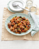 Turkey ragout with vegetables and olives
