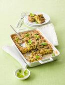 Kartoffel-Fave-Auflauf mit grünen Bohnen