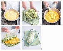 Eine Zuckerschoten-Brot-Rolle mit Omelettfüllung zubereiten