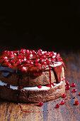 Chocolate sponge with pomegranate ganache