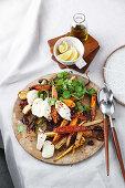 One-tray warm roast vegetable salad