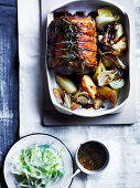 Roast rolld lamb loin with anchovies and rosemary
