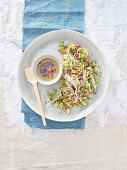 Farro salad with rabbit and celery with juniper berries