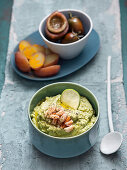 Avocado dip with crab meat and peperoncini