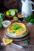 Lime pie with mint