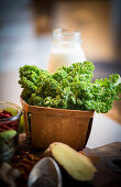 Fresh kale in a wooden basket